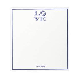 LOVE Graphic Text - Blue Notepad