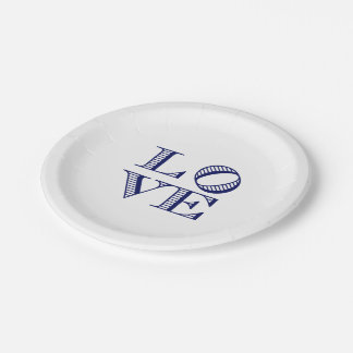 LOVE Graphic Text - Blue Paper Plate