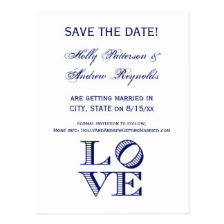 LOVE Graphic Text - Blue Postcard