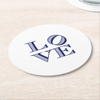 LOVE Graphic Text - Blue Round Paper Coaster