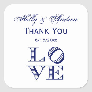LOVE Graphic Text - Blue Square Sticker