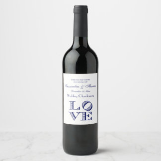 LOVE Graphic Text - Blue Wine Label