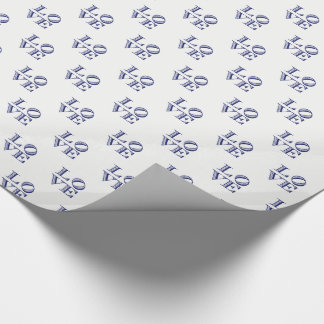 LOVE Graphic Text - Blue Wrapping Paper