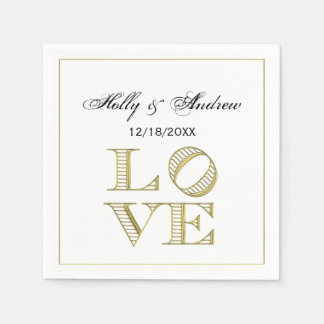 LOVE Graphic Text - Faux Gold Disposable Napkin