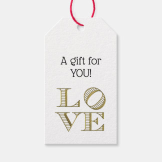 LOVE Graphic Text - Faux Gold Gift Tags