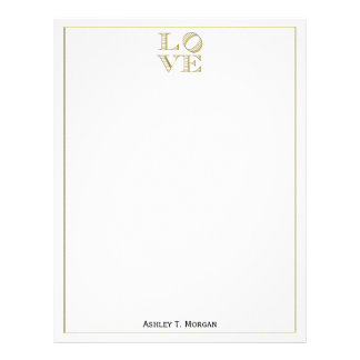 LOVE Graphic Text - Faux Gold Letterhead
