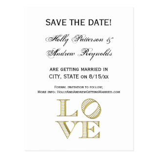 LOVE Graphic Text - Faux Gold Postcard