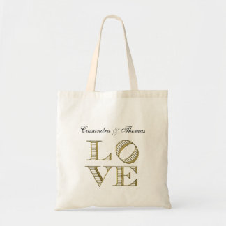 LOVE Graphic Text - Faux Gold Tote Bag