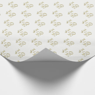 LOVE Graphic Text - Faux Gold Wrapping Paper