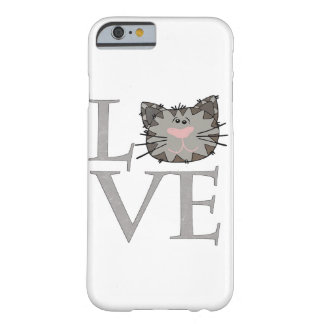 Love, Gray Cat Face Cell Phone Case