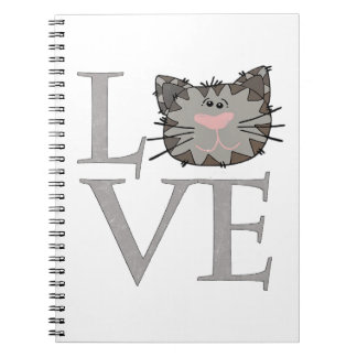 Love, Gray Cat Face Notebook