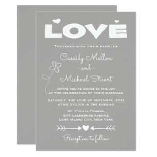 Love Gray & White Wedding  Hearts and Butterflies Card