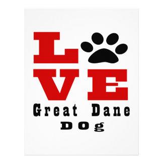 Love Great Dane Dog Designes Personalized Letterhead