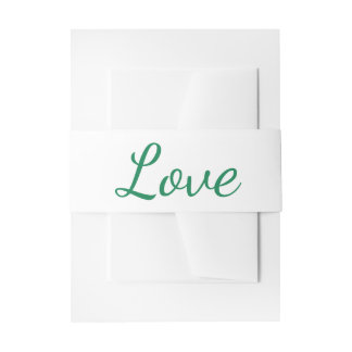 Love Green and White Invitation Belly Band