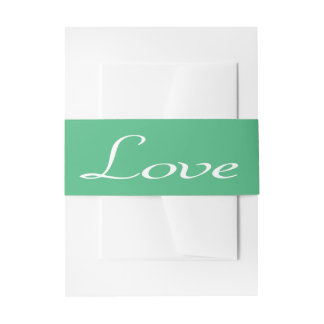 Love Green And White Wedding Party Invitation Belly Band