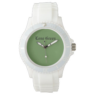 Love Green Custom Sporty White Silicon Watch