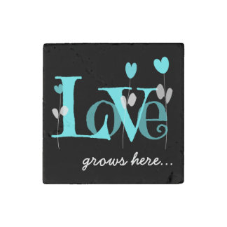 LOVE grows here, Aqua & Black Stone Magnet Stone Magnets