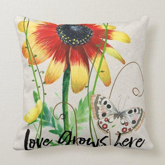 Love Grows Here Cute Design Throw Pillow