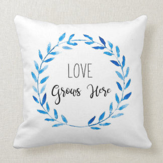 Love Grows Here Floral Wreath Watercolor Throw Pillow