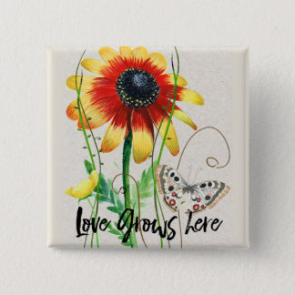 Love Grows Here Flowers Design 2 Inch Square Button