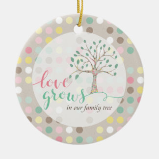 Love Grows In Our Family Tree Baby Shower Nursery Round Ceramic Ornament