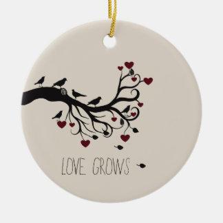 Love Grows Round Ceramic Ornament