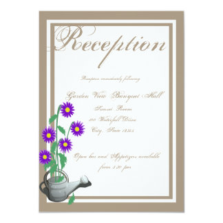 """Love Grows Watering Can Wedding Reception 4.5"""" X 6.25"""" Invitation Card"""
