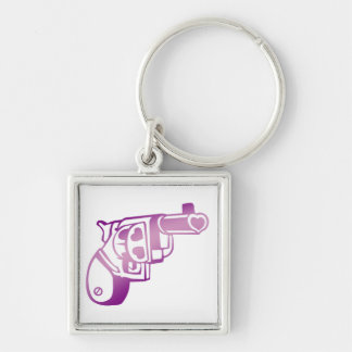 Love gun. Silver-Colored square keychain