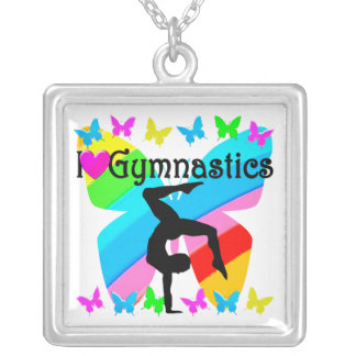 LOVE GYMNASTICS FOREVER DESIGN SILVER PLATED NECKLACE