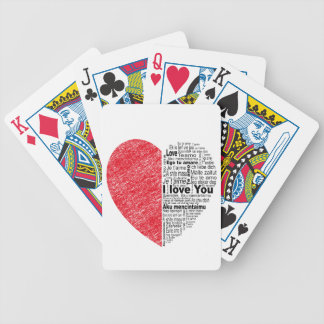love, half color and text design heart bicycle playing cards