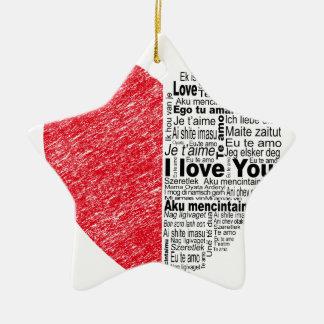 love, half color and text design heart ceramic ornament