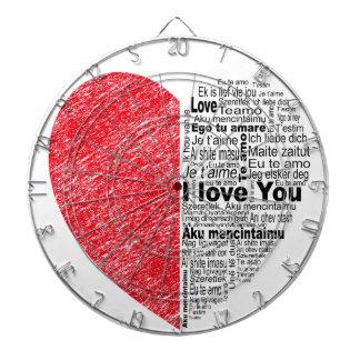 love, half color and text design heart dartboard