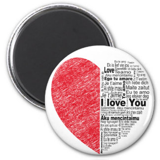 love, half color and text design heart magnet