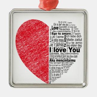 love, half color and text design heart metal ornament