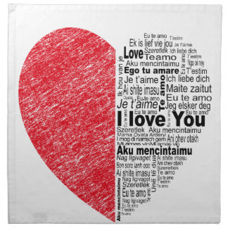 love, half color and text design heart napkin