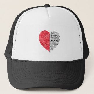 love, half color and text design heart trucker hat