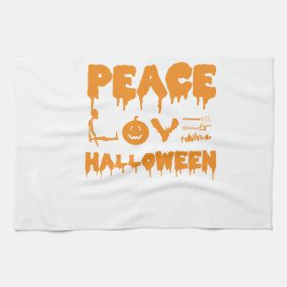Love Halloween costume tshirt with skeleton, bats Kitchen Towel