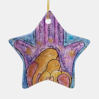 Love Hamsa Ceramic Ornament