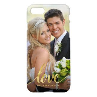 Love Handwritten Gold Script Wedding Photo Overlay iPhone 8/7 Case