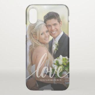 Love Handwritten White Wedding Photo Overlay Clear iPhone X Case