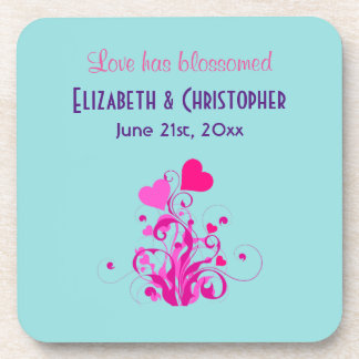 Love Has Blossomed Wedding Hearts Drink Coasters
