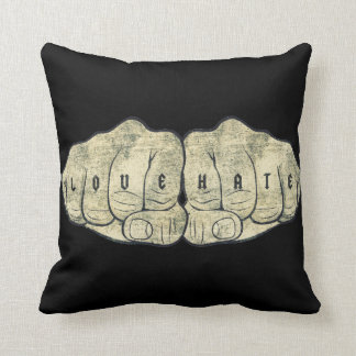 Love & Hate tattoo Throw Pillow