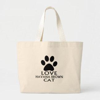 LOVE HAVANA BROWN CAT DESIGNS LARGE TOTE BAG