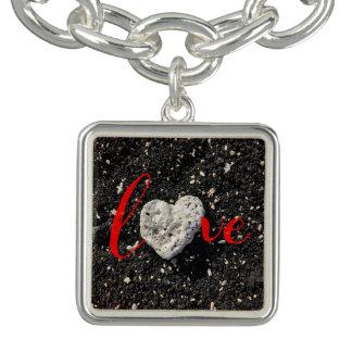 """Love"" Hawaii Black Sand Beach & Coral Heart Photo Bracelet"