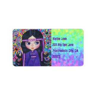 Love Headband Hippie Girl Doll Purple Psychedelic
