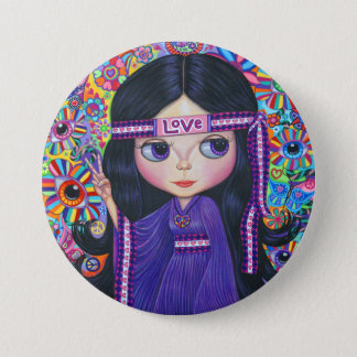 Love Headband Hippie Girl Doll Purple Psychedelic 3 Inch Round Button