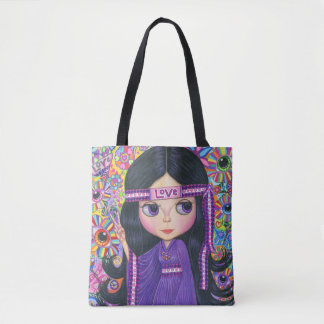 Love Headband Hippie Girl Peace Sign Cute Tote Bag