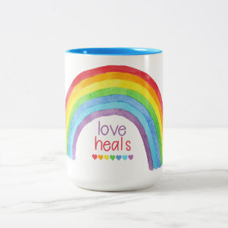Love Heals * Rainbow * Pride Two-Tone Coffee Mug