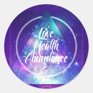 love-health-abundance zen series round sticker