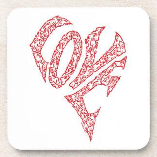 'LOVE HEART' - A HEART, W/ THE LETTERS,  L O V E DRINK COASTERS